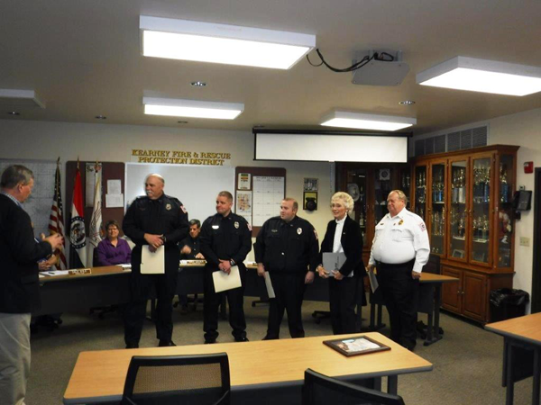 Jay McClintick presenting award from St. Lukes, FF-EMT Youngblood, FF-EMT-P Giacone, FF-EMT-P Keplinger, Janet Andes, Chief Pratt, not pictured Captain Looper, 03-21-16